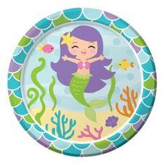 kleine Papp Tellerideale Größe für Desserts, Kuchen, Beilagen, Salate oder FingerfoodMotiv: kleine MeerjungfrauGröße: 18 cm DurchmesserInhalt: 8 Stück