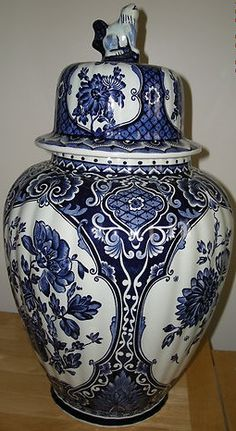 Vintage Delft Ginger Jar made by Boch for Royal Sphinx in Holland.