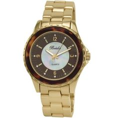 Breda Women's 5182-tortoiseshell Sophia Oversized Unidirectional Tortoise Accented Bezel Watch Breda. $34.02. Black mother of pearl center with indiglo index and rhinestone accents; indiglo hour and minute hands. Unidirectional sleek bezel with tortoiseshell accent. Water-resistant - not recommended to take into water or shower. Highest standard quartz movement. Silver three link metal band; fold over clasp with push buttons. Save 37%!