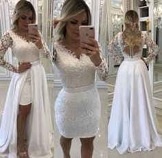 Flowery Wedding Dress, Tea Length Wedding Dress, Dream Wedding Dresses, Bridal Gown Styles, Bridal Dresses, Bridesmaid Dresses, Convertible Wedding Dresses, Lace Mesh Dress, Stunning Wedding Dresses