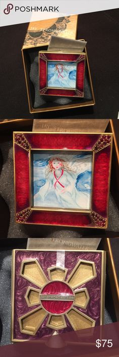 """NIB- Jay Strongwater picture frame, approx 2 3/4sq NEW-- in original box, Jay Strongwater picture frame!  Overall approx 2 3/4"""" square.  Picture size, 1 3/4"""" x 1 3/4"""", red with stones, perfect for Valentine's Day❤️ Jay Strongwater Other"""