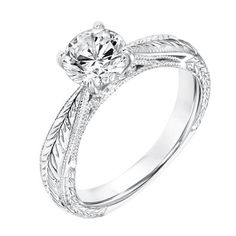 31-11035-E Diamond Solitaire Engagement Ring with Engraved Shank and Milgrain Detail, 4 prong center , tapered in shank and band available at CMI Jewelry Showroom in Raleigh NC www.cmijewelry.com