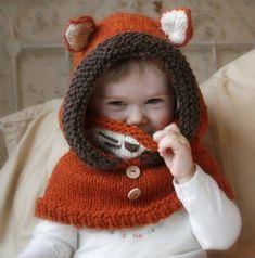 Baby Knitting Patterns Cowl Knit fox hood cowl Rene – PDF knitting pattern – in baby, toddler, child and adu… Baby Knitting Patterns, Knitting For Kids, Baby Patterns, Knitting Projects, Crochet Patterns, Knitting Ideas, Easy Knitting, Diy Tricot Crochet, Crochet Fox