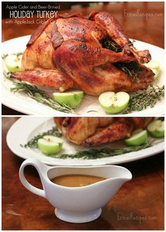 Apple Cider and Beer-Brined, Holiday Turkey with AppleJack Giblet Gravy from EricasRecipes.com.