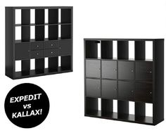 EXPEDIT and KALLAX shelving units in black-brown next to each other, showing the differences between the two