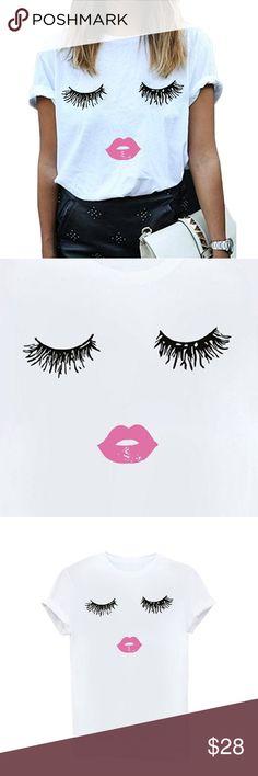 LIPS Print Fashion Tee Women's Graphic Fashion Tee White with black eyelashes & pink lips!   Soft fabric, runs small Medium = Small Large = Medium XL = Large boutique Tops Tees - Short Sleeve