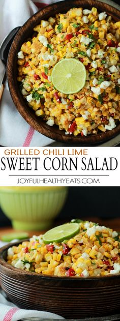 A summer favorite, grilled corn on the cob amped up and turned into this light and healthy Grilled Chili Lime Sweet Corn Salad filled with cilantro, lime, peppers, and queso fresco! The star of the party for sure! | joyfulhealthyeats.com
