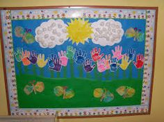 Student hand print bulletin board idea