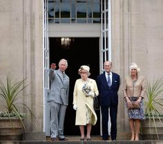 camillasgirl:  The Prince of Wales, Queen Elizabeth, Duke of Edinburgh and Duchess of Cornwall visited Dumfries House, Scotland, July 2, 2014