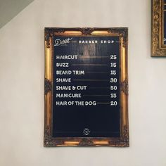This is a new price list I painted for by signtologydetroit Barber Shop Interior, Barber Shop Decor, Hair Salon Interior, Salon Interior Design, Beauty Salon Design, Barber Shop Vintage, Best Barber Shop, Mobile Barber, Barber Shop Haircuts