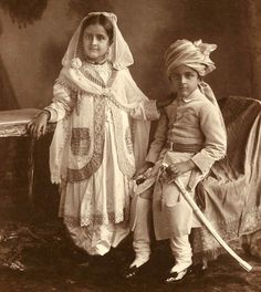 Portraits of prince and princesse, grandchildren of Sultan Jahan Begum of Bhopal, c.1910 Toned platinum and gelatin silver prints,