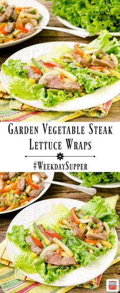 Garden Vegetable Steak Lettuce Wraps made with fresh vegetables and tender beef. It's a quick and healthy stir-fry served in lettuce leaves. #WeekdaySupper