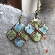 Copper Enamel Earrings. forlformed as well. really like these