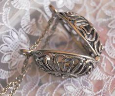 Pewter Thimble Cage Pendant, Tudor Rose