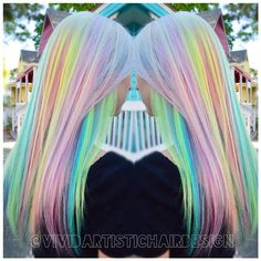 """ Sugar, yes please! Muted Neon Prismatic Technique by Rebecca Taylor @vividartistichairdesign // #pravana #pravanavivids #pravanapastels…"""