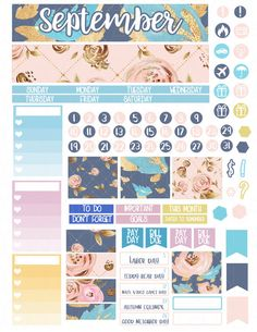 Printable Planner Stickers September Monthly View by LaceAndLogos
