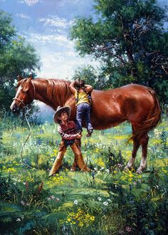 Cowboy Kids and Colts by Jack Sorenson - Why God Made Brothers Cowgirl And Horse, Cowboy Art, Horse Pictures, Pictures To Paint, Cowboy Pictures, Horse Artwork, Horse Paintings, Little Cowboy, Horse Drawings