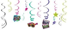 Totally 80s Swirl Decorations 12ct - Party City