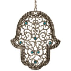 """The Quest Atika Hamsa has a filigree design, and is embellished with scattered Swarovski crystals. Silver/Pewter with blue stones. Dimensions: H 4.50"""" x W 3.75"""""""