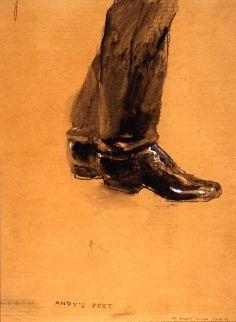 Andy's (Warhol) Feet by Jamie Wyeth, Mixed media on brown cardboard, 26 x Jamie Wyeth, Andrew Wyeth, Artist Painting, Painting & Drawing, Nc Wyeth, Brandywine Valley, Andy Warhol, American Artists, Fine Fine