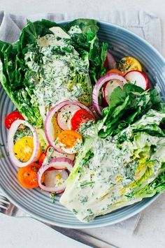 Little Gem Wedge Salad w/ Herb Dressing - A light and refreshing new take on the classic wedge salad. Vegan and gluten-free.