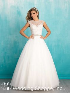 Allure Bridal Gown 9301: High illusion neckline ball gown with cap sleeves.