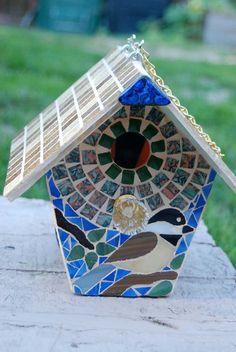 Bird House Stained Glass Mosaic Chickadee by NatureUnderGlass