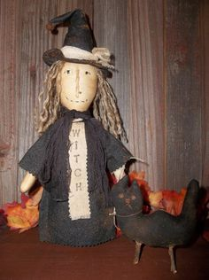 Primitive Handmade Halloween Witch and Her by Sweetrainprimitives, $17.00