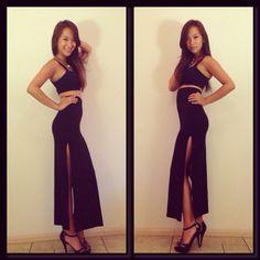 Maxi high split skirt, croptop x Asos