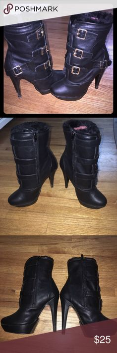 Black JustFab boots Black and gold buckled boots. Size 6.5, worn a couple of times JustFab Shoes Ankle Boots & Booties