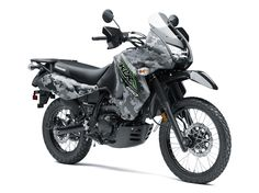 The rugged and tough Kawasaki KLR 650 CAMO motorcycle is built for adventure. Riders will benefit from the motorcycle's phenomenal fuel range and dual-purpose capabilities on pavement or off-road.