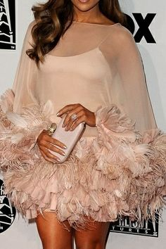 Marchesa delicate tulle & feather mini skirt in nude-pink.
