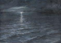Nit de lluna sobre el mar | Museu Nacional d'Art de Catalunya Waves, Moon, Painting, Outdoor, Art, National Museum, Paintings, The Moon, Outdoors