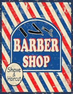 BARBER SHOP SHAVE&HAIRCUT LARGE METAL TIN SIGN POSTER VINTAGE STYLE PLAQUE