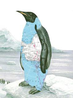 Paper Collage Art Print Penguin Art Antarctica Map Art Arctic Iceberg.
