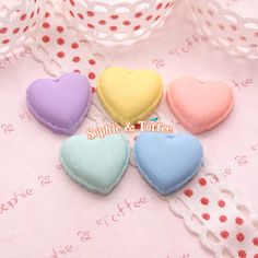 DIY Small Pastel Heart Macaroon 10pcs (5 Pairs) Miniature Sweets Kawaii Cabochon Decoden Pieces on Etsy, $5.39