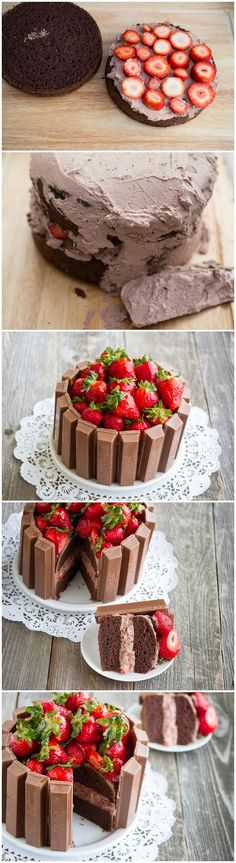 Strawberry Chocolate Layered Cake with Kit Kat border and topped with fresh srawberries