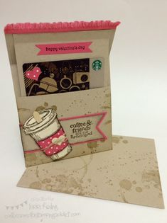 Video Tutorial! Valentine's Day Coffee Gift Card Holder :: Confessions of a Stamping Addict Lorri Heiling Perfect Blend, Valentine,