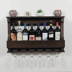 Trent Austin Design® Bernardo Solid Wood Wall Mounted Wine Glass Rack & Reviews | Wayfair Hanging Wine Glass Rack, Wine Glass Holder, Wine Bottle Rack, Bottle Wall, Bottle Holders, Bottle Labels, Wine Bottles, Bottle Opener, Wine Shelves