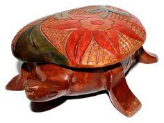 Carved Wooden Turtle Box - Folk Art Box - Tortoise Trinket Box - Keepsake Box by BatnKatArtifacts