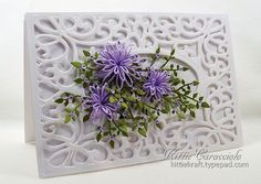 Austrian Background and Delicate Daisies - KittieKraft I'm guessing a Sue Wilson Die for the back drop - beautiful!