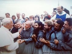 Founding friars of the Franciscan Friars meet Pope John Paul II in St. Peter's Square during a pilgrimage back in 1988