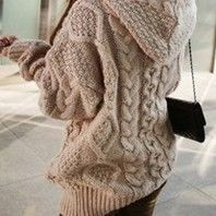 Apricot Hooded Long Sleeve Cardigan Sweater Coat
