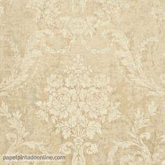 Papel Pintado Paris RS70401 con fondo beige oscuro y dibujo de medallones florales estilo clásico-romántico en beige claro.