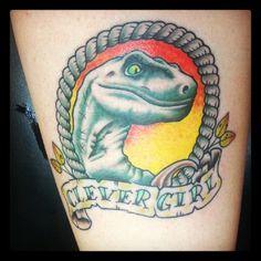 clever girl  jurassic park velociraptor tattoo