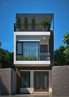 Top 30 Modern House Design Ideas For 2020 - Engineering Discoveries Narrow House Designs, Modern Small House Design, Modern Exterior House Designs, Small House Exteriors, Modern House Facades, Minimalist House Design, Classic House Design, Modern Buildings, Modern Design