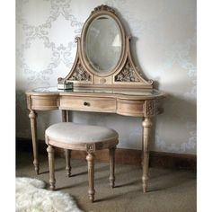 The French Bedroom Company's Antoinette Oak Dressing Table is hand-carved from top quality American white oak and finished by hand with a high grade matt satin wax polish. This beautiful French dressing table will enhance your romantic bedroom. Shabby Chic Dressing Table, Dressing Table Vanity, Vintage Dressing Tables, Dressing Table With Stool, White Bedroom Furniture, French Furniture, Vintage Furniture, Living Room Furniture, Furniture Design