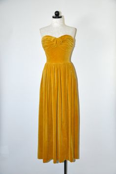30% OFF 50s velvet evening gown / 1950s mustard maxi dress / strapless long party dress