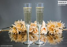Vera Wang Infinity Personalized Wedding Toasting Flutes (Set of TWO) Custom Engraved Champagne Glass, Wedding Glasses, Engagement Gift Engraved Wedding Gifts, Personalized Wedding Gifts, Wedding Glasses, Champagne Glasses, What Are Colours, Toasting Flutes, Wedding Toasts, Newlywed Gifts, Gift Wrapping Services
