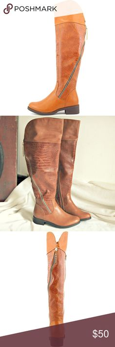 """Camel Assymetrical Zip Knee High Boots STUNNING BOOTS! Brand new knee high boots by Journee Collection. Style """"Vanessa"""" Gorgeous camel tan color, with snakeskin/crocodile prints and asymmetrical silver zipper. Leather textured material.  Size 8. If these were my size I would be totally keeping them! Closet staple right here!  $115 retail! Journee Collection Shoes Winter & Rain Boots"""